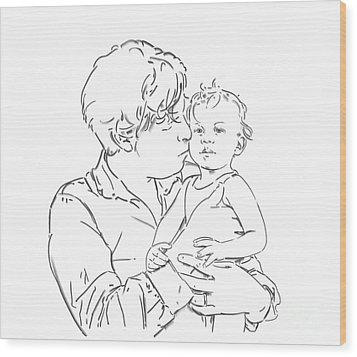Wood Print featuring the drawing Father And Son by Olimpia - Hinamatsuri Barbu