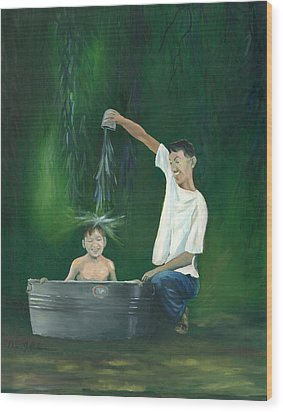 Wood Print featuring the painting Fatherly Fun by Dan Redmon