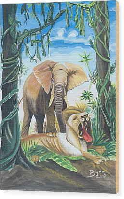 Wood Print featuring the painting Faune D'afrique Centrale 01 by Emmanuel Baliyanga