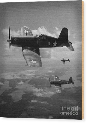 Wood Print featuring the photograph Faux Wwii Corsair Photo by Stephen Roberson