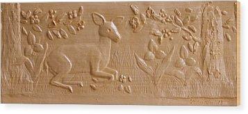 Fawn In The Trillium Wood Print by Deborah Dendler