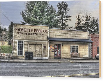 Fayette Feed Co Wood Print by Dan Friend