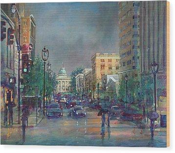 Fayetteville Street First Light Wood Print