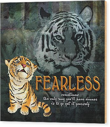 Fearless Wood Print by Evie Cook