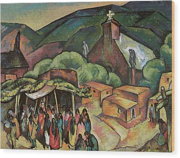 Feast Day San Juan Pueblo Wood Print by William Penhallow Henderson