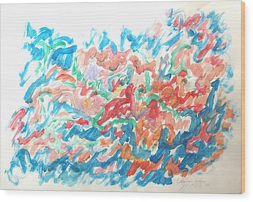 Wood Print featuring the painting Feast Of Blue And Red by Esther Newman-Cohen