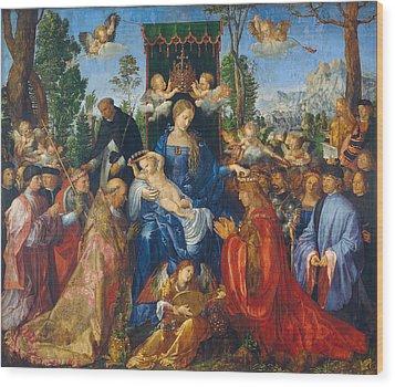 Feast Of Rose Garlands Wood Print by Albrecht Durer