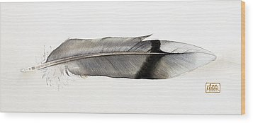 Feather Wood Print by Ann Miller