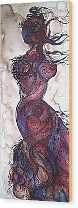 Wood Print featuring the painting Feather Flow by Christy  Freeman