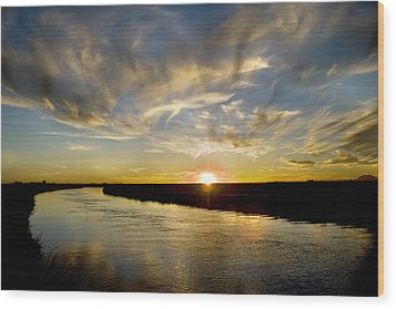 Feathered Sunset Wood Print