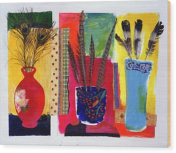 Feathered Triptych Wood Print by Diane Fine