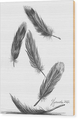 Wood Print featuring the drawing Feathers For A Friend by J Ferwerda
