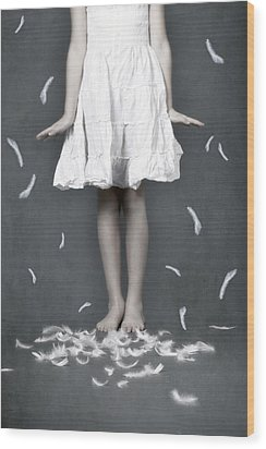 Feathers Wood Print by Joana Kruse