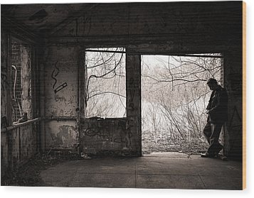 February - Comfortable Seclusion - Self Portrait Wood Print by Gary Heller