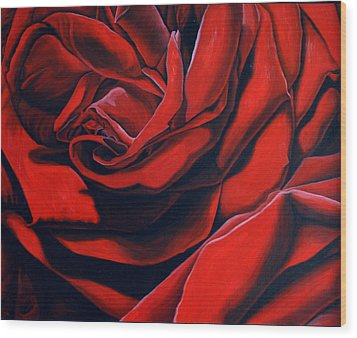Wood Print featuring the painting February Rose by Thu Nguyen