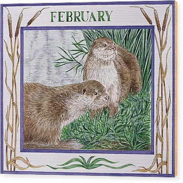 February Wc On Paper Wood Print by Catherine Bradbury