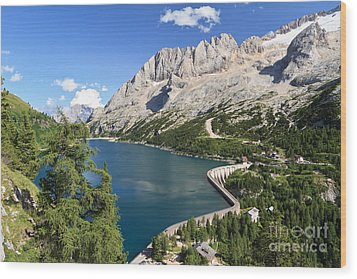 Wood Print featuring the photograph Fedaia Pass With Lake by Antonio Scarpi