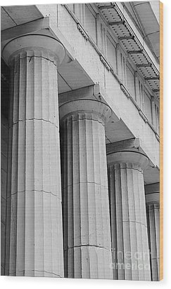 Federal Hall Columns Wood Print by Jerry Fornarotto