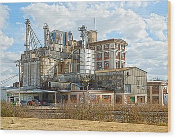 Feed Mill Hdr Wood Print by Charles Beeler