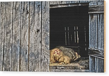Wood Print featuring the photograph Feed Sack In Loft by Greg Jackson