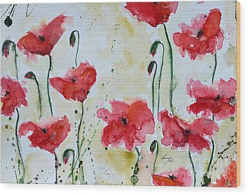 Feel The Summer 1 - Poppies Wood Print by Ismeta Gruenwald