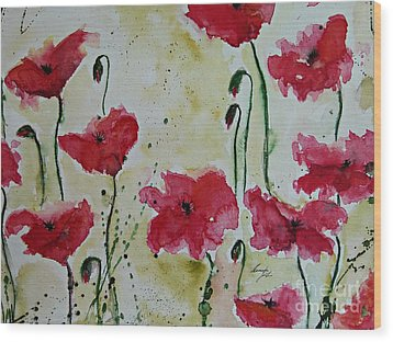 Feel The Summer - Poppies Wood Print by Ismeta Gruenwald