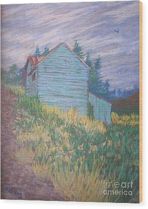 Feelin' Blue In Troutdale Wood Print by Suzanne McKay