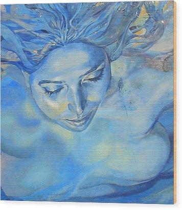 Feeling Blue Wood Print by Ramona Johnston