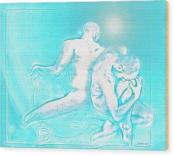 Feeling Blue Together  Wood Print by Yvon van der Wijk