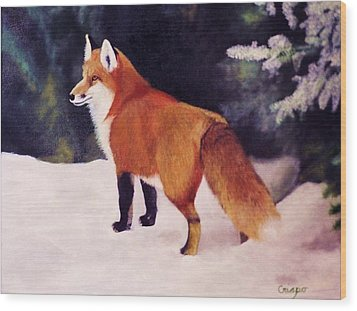 Feeling Foxy Wood Print by Jean Yves Crispo
