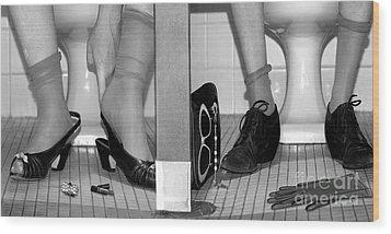 Feet In Toilet Stalls Wood Print by Novastock