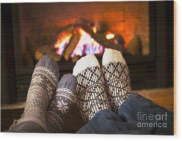 Feet Warming By Fireplace Wood Print by Elena Elisseeva