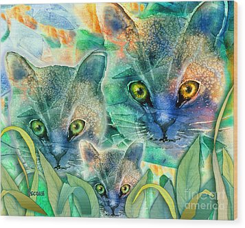 Wood Print featuring the painting Feline Family by Teresa Ascone