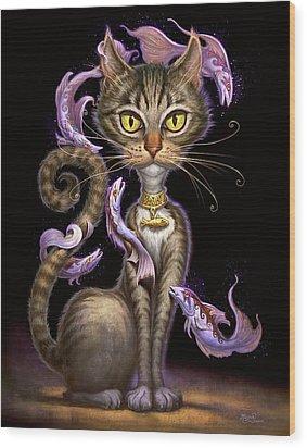 Feline Fantasy Wood Print by Jeff Haynie