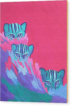 Wood Print featuring the painting Feline Fishers by Margaret Saheed