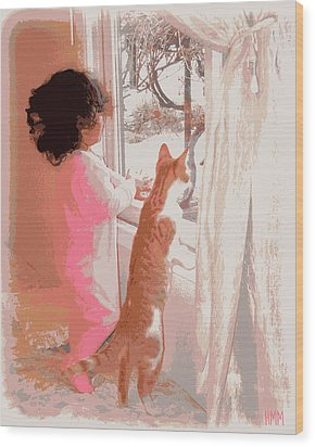 Feline Friend Wood Print by Heidi Manly