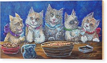 Felines After Five Wood Print