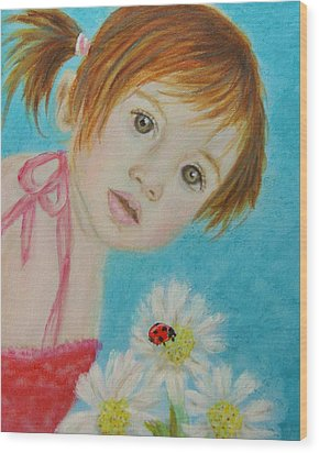 Felisa Little Angel Of Happiness And Luck Wood Print by The Art With A Heart By Charlotte Phillips