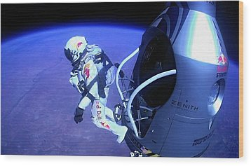 Felix Baumgartner Jumping From Capsule Wood Print by Science Photo Library