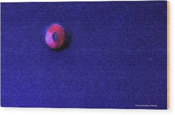 Felt Ball On Blue Felt Wood Print
