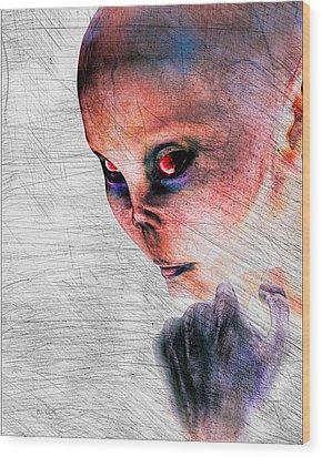 Female Alien Portrait Wood Print by Bob Orsillo
