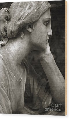 Female Angel Face Closeup - Female Angelic Face Portrait Wood Print by Kathy Fornal