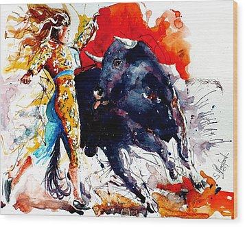 Female Bullfighter Wood Print by Steven Ponsford