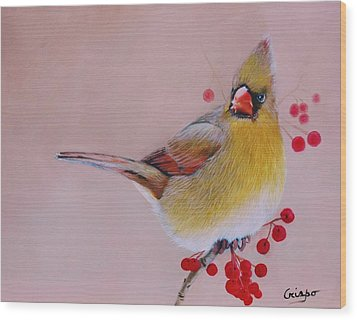 Female Cardinal Wood Print by Jean Yves Crispo