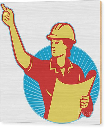Female Engineer Construction Worker Pointing Retro Wood Print by Aloysius Patrimonio