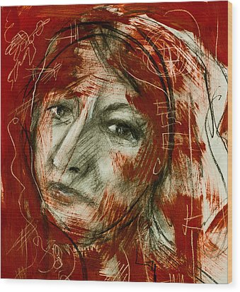 Female Head With Red Background Wood Print
