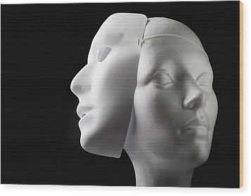 Female Mannequin And Mask Wood Print by Kelly Redinger