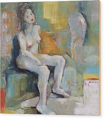 Female Nude 2 Wood Print by Becky Kim
