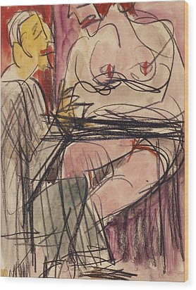 Female Nude And Man Sitting At A Table Wood Print by Ernst Ludwig Kirchner