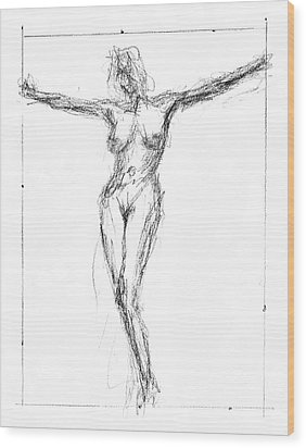 Female Nude In The Pose As Jesus Christ Crucifix  - Pencil Drawing Wood Print by Nenad Cerovic